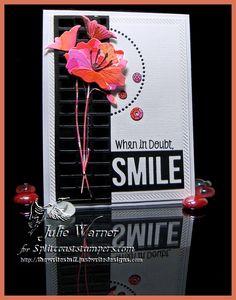 Poppy Smile card using MFT stamps/dies, Memory Box & Poppystamps poppy dies - Julie Warner for Splitcoaststampers