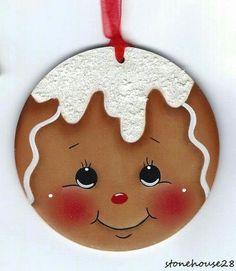 Gingerbread Ornaments, Gingerbread Decorations, Painted Christmas Ornaments, Christmas Gingerbread, Christmas Decorations, Gingerbread Houses, Gingerbread Cookies, Christmas Rock, Christmas Balls