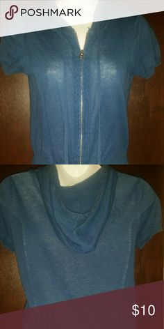 Teal short sleeve light hooded sweater Teal hooded sweater from Aeropostale. Light and great for layering. Slightly sheer, zips in front. Aeropostale Sweaters Cardigans