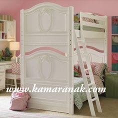jual Tempat Tidur Anak Tingkat Ukir pada headboard modern harga murah cat duco putih kayu jati/mahony desain mewah kamar anak perempuan kembar/lcowo kembar