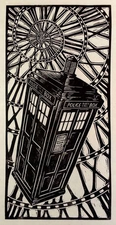 Tardis Woodblock Print by WoodcutEmporium on Etsy