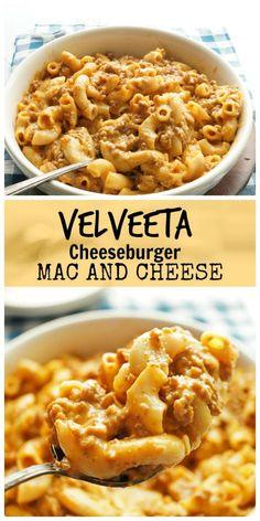 Velveeta Cheese Burger Mac and Cheese/ The Skinny Pot – Montag Lustig Velveeta Mac And Cheese, Cheese Burger Macaroni, Hamburger Mac And Cheese, Cheeseburger Mac And Cheese, Velveeta Recipes, Chili Mac And Cheese, Mac And Cheese Homemade, Creamiest Mac And Cheese, Beef Recipes
