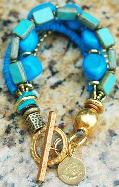 Turquoise Stones, Glass, Bone and Gold Multi-Strand Bracelet