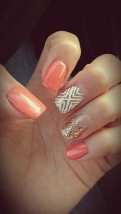 Coral nails with gold  white accent. Perfect for spring!