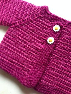 A simple and fuss free baby cardigan, ideal for a knitter who is new to seamless knitting, this tiny garment allows for lots of customisation to suit baby girls and boys alike. Baby Cardigan Knitting Pattern Free, Baby Boy Knitting Patterns, Baby Sweater Patterns, Knitted Baby Cardigan, Cardigan Pattern, Knitting For Kids, Easy Knitting, Baby Girl Sweaters, Free Baby Stuff