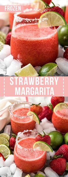 The best frozen strawberry margarita is made with fresh strawberries and a few other simple ingredients! This recipe makes four servings in less than 10 minutes. Frozen Drink Recipes, Alcohol Drink Recipes, Sangria Recipes, Beer Recipes, Margarita Recipes, Punch Recipes, Mexican Food Recipes, Recipes Dinner, Cocktail Recipes