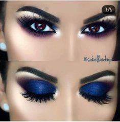 Gorgeous Makeup: Tips and Tricks With Eye Makeup and Eyeshadow – Makeup Design Ideas Smokey Eye Makeup Look, Smokey Eyes, Blue Eye Makeup, Eye Makeup Tips, Makeup Goals, Eyeshadow Makeup, Beauty Makeup, Blue Glitter Eye Makeup, Navy Blue Makeup