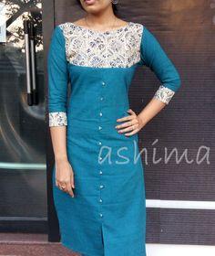 Code:0602161 -Khadi Cotton Kurta With Kalamkari Yoke- Price INR:890/-