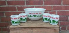 Egg Nog punch bowl serving set vintage four cups Christmas