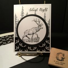 Christmas Stamp-a-Stack 22 November 2015: Wilderness Awaits (from the 2015-16 Annual Catalog) and Wonderland (from the Holiday 2015 catalog). DSP Winter Wonderland on Whisper White thick card stock with Basic Black; framelits Circles. All supplies and images by Stampin'Up!