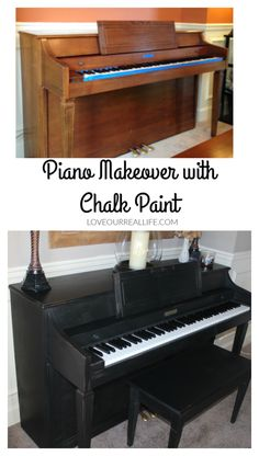 Piano Makeover with Chalk Paint. Click here to see a tutorial on transforming your piano (or other furniture) with chalk paint.