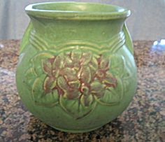 Antique art pottery vase. Matte aqua/minty green. SOLD at More Than McCoy  on TIAS at http://www.morethanmccoy.com