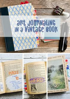A tutorial showing how to recycle a vintage book into a mixed media art journal, using paper crafting supplies. Book Journal, Journal Ideas, Types Of Journals, All Paper, Free Downloads, Altered Books, Travelers Notebook, Happy Anniversary, Mini Books