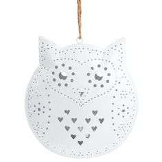 "HEDWIG Tealight holder ""owl"", white, 20 cm - Lighting"