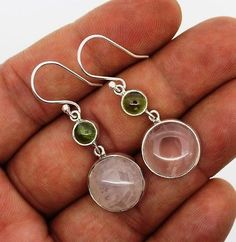 Rose Quartz earrings Silver 925 Sterling Jewelry natural gemstone handmade 7.3gm