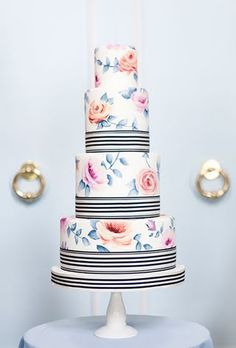 Painted Fondant Wedding woman's Birthday Cake Special Occasion stripes