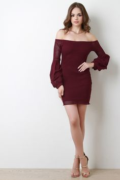 This lovely dress features a fishnet fabrication, off the shoulder neckline, long statement ruched sleeves design, and a mini-length hemline. Fully lined. Measurement Size Bust Waist Hip Length Sleeve S 26 20 24 29 21 M 28 22 26 L Beautiful Girl Image, Beautiful Models, Lovely Dresses, Sexy Dresses, Girl Fashion, Fashion Outfits, Womens Fashion, Ladies Fashion, Fashion Trends