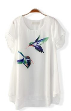 Birds Printing O-neck Short Sleeves Loose Chiffon Casual T-shirt Cool Outfits, Fashion Outfits, Womens Fashion, Dress Up Boxes, Casual T Shirts, Printed Shirts, Nice Dresses, Short Sleeves, Fashion Looks