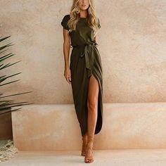 c6aff20e5c7 Gender Women Silhouette A-Line Sleeve Style Regular Neckline O-Neck Season Summer  Dresses Length Ankle-Length Waistline Natural Material Polyester