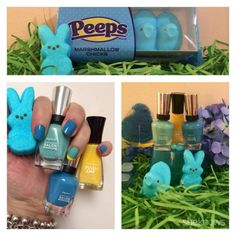 Mani-Monday: A blue Easter bonnet grass marshmallow Peeps manicure