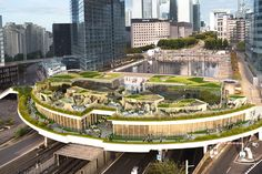 the semi-circular scheme serves as a welcoming gateway, containing flower gardens alongside new restaurants and open terraces.