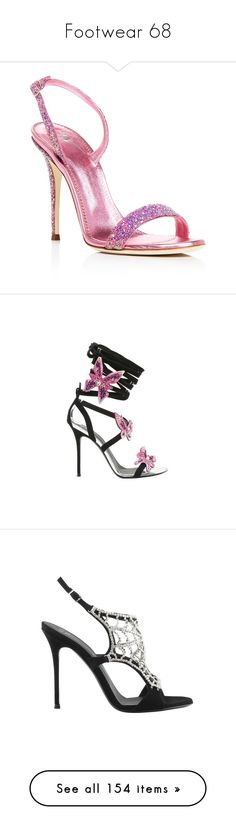 """Footwear 68"" by katiemarilexa ❤ liked on Polyvore featuring shoes, sandals, fuxia pink, slingback shoes, pink sandals, metallic heeled sandals, pink metallic shoes, leather heeled sandals, dresses and heels"