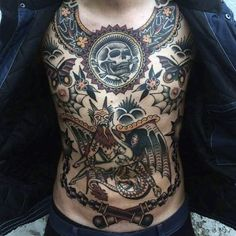 Discover old school ink with the best American traditional tattoos for men. Explore cool Western style ideas with vintage appeal. Torso Tattoos, Stomach Tattoos, Boy Tattoos, Body Art Tattoos, Tattoos For Guys, Crazy Tattoos, Awesome Tattoos, Tattos, Black Tattoo Art