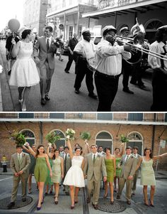 Would love to get married in New Orleans!  Love all of the bridemaids different dresses in different shades of green too.