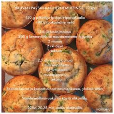 Vauvan parsakaali-hernemuffinsit — Simppeli sormiruokakeittiö Baby Food Recipes, Kids Meals, Baked Potato, Goodies, Baking, Vegetables, Ethnic Recipes, Babys, Baby Shower