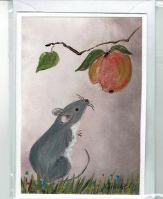 Grüße - Grußkarte - Maus mit Apfel, RESERVTERT ! - ein Designerstück von Vogelmalerin bei DaWanda