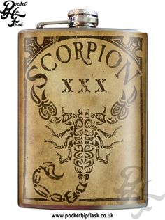 Art inspired stainless steel scorpion hip flask @ The Pocket Hip Flask Company: