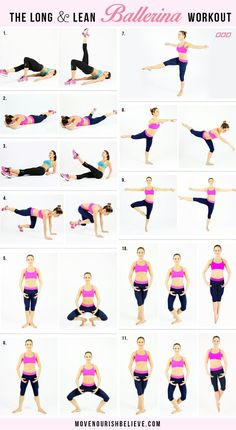 Workout Plan Try this ballerina workout by top fitness trainer Christine Bullock. - Say hello to lean legs, toned arms, elegant curves and a strong core! Try this ballerina workout by top fitness trainer Christine Bullock. Sport Fitness, Fitness Workouts, Yoga Fitness, At Home Workouts, Fitness Tips, Fitness Plan, Workout Routines, Workout Plans, Health Fitness