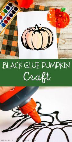 Black glue pumpkin craft for kids. A fun Halloween craft or fall craft for kids. Easy Fall Crafts, Fall Crafts For Kids, Halloween Crafts For Kids, Toddler Crafts, Halloween Fun, Halloween Season, Halloween Makeup, Kids Crafts, Leaf Crafts
