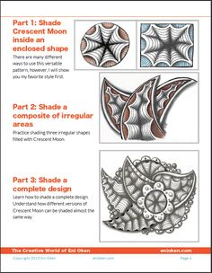 Shading tangle pattern Crescent Moon PDF tutorial by Eni Oken • enioken.com #zentangle #shading