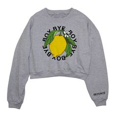 "This is a pre order that will ship the week of Sept 5th 2016.Heather Grey Cropped Sweatshirt featuring ""Boy Bye"" with lemon print."