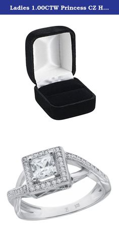 Ladies 1.00CTW Princess CZ Halo 14K White Gold-Plated Sterling Silver Split Shank Ring, Size 9. Ladies 1.00CTW Princess CZ Halo 14K White Gold-Plated Sterling Silver Split Shank Ring, Size 9. 1.00 Total Carat Weight of Flawless Cubic Zirconia with White Gold-Plated Over 925 Sterling Silver. CZ Cut: Ideal; Product Enclosed in Black Velvet Gift Box. US Size (Available in US Sizes 5 to 9 with Half Sizes; Quarter Sizes Available Upon Request). Ships Same Day if Order Received by 2:00 PM…