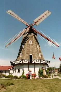 Elk Horn, Iowa Elk Horn and its nearby northern neighbor town of Kimballton comprise the largest rural Danish settlement in the U. Kimballton has a replica of the Little Mermaid statue, while Elk Horn hosts a tiny church and this windmill, 60 feet tall. Little Mermaid Statue, The Little Mermaid, Tilting At Windmills, Storm Lake, Water Mill, Le Moulin, Covered Bridges, Amazing Nature, My Images