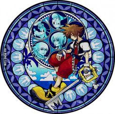 Kingdom Hearts: Sora - Dive to the heart Kingdom Hearts Tattoo, Kingdom Hearts Ii, Kingdom Hearts Coded, Kingdom Hearts Wallpaper, Stained Glass Tattoo, Stained Glass Art, Kindom Hearts, Heart Images, Video Game Art
