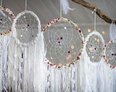 Wall hanging dreamcatcher set 5 pieces, White dreamcatchers set, Baby girl room decor, Wedding dream catchers set, Boho wedding, Baby shower