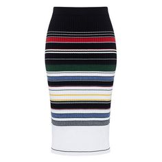 Preen Line - Ockie Striped Knit Skirt ($144) ❤ liked on Polyvore featuring skirts, striped knit skirt, colorful skirts, ribbed skirt, multi colored skirt and striped skirts