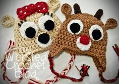 The Worsted Crochet Blog: Rudolph the Red Nosed Reindeer and Clarice the Doe Hats