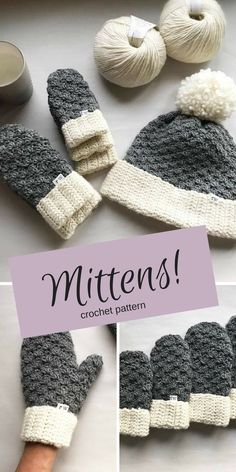 Warm Woollen Mittens - With this crochet pattern you'll be able to make mittens for the whole family! #ad #crochet #crochetpattern