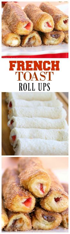 Toast Roll-Ups French Toast Roll Ups - make them with whatever filling you want! Always a hit. the-girl-who-ate-French Toast Roll Ups - make them with whatever filling you want! Always a hit. the-girl-who-ate- Breakfast Dishes, Breakfast Time, Breakfast Recipes, Good Breakfast Ideas, Breakfast Fruit, Mexican Breakfast, Breakfast Potatoes, Breakfast Sandwiches, Breakfast Pizza