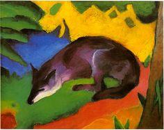 Blauschwarzer Fuchs (1911) Le Renard bleu-noir. Franz Marc.