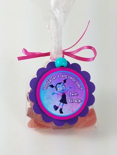 "Personalized Vampirina Scallop Birthday Party Favor Bag Tag ""Thanks For A Fang-tastic Time! Party Favor Bags, Birthday Party Favors, 2nd Birthday Parties, 7th Birthday, Favor Tags, Birthday Ideas, Purple Cards, Personalized Wedding Favors, First Birthdays"