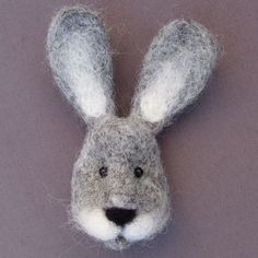 Handmade Hare Brooch, Wildlife craft, Needle felt, Woodland art wool sculpture Woodland Art, Easter Projects, Felt Brooch, Felt Animals, Plushies, Rabbits, Needle Felting, Wool Felt, Brooches