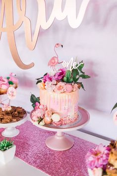 "Flamingo Drip Cake from a ""Let's Flamingle"" Tropical Flamingo Birthday Party on Kara's Party Ideas 