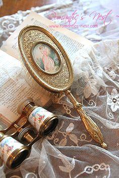 Vintage brush and opera glasses Vintage Love, Vintage Beauty, Vintage Romance, Parasols, Victorian Cottage, Dresser Sets, Romantic Homes, Vintage Vanity, Shabby Chic Style