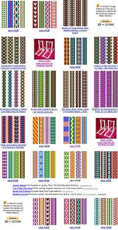 free bead patterns for the loom.   *edit: seems like the link isn't working, but these are still in this pic to see*