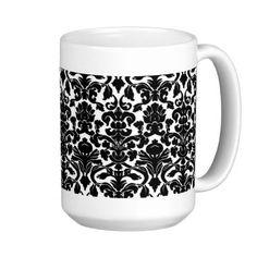 Vintage Ornate Floral Black and White Damask Mug